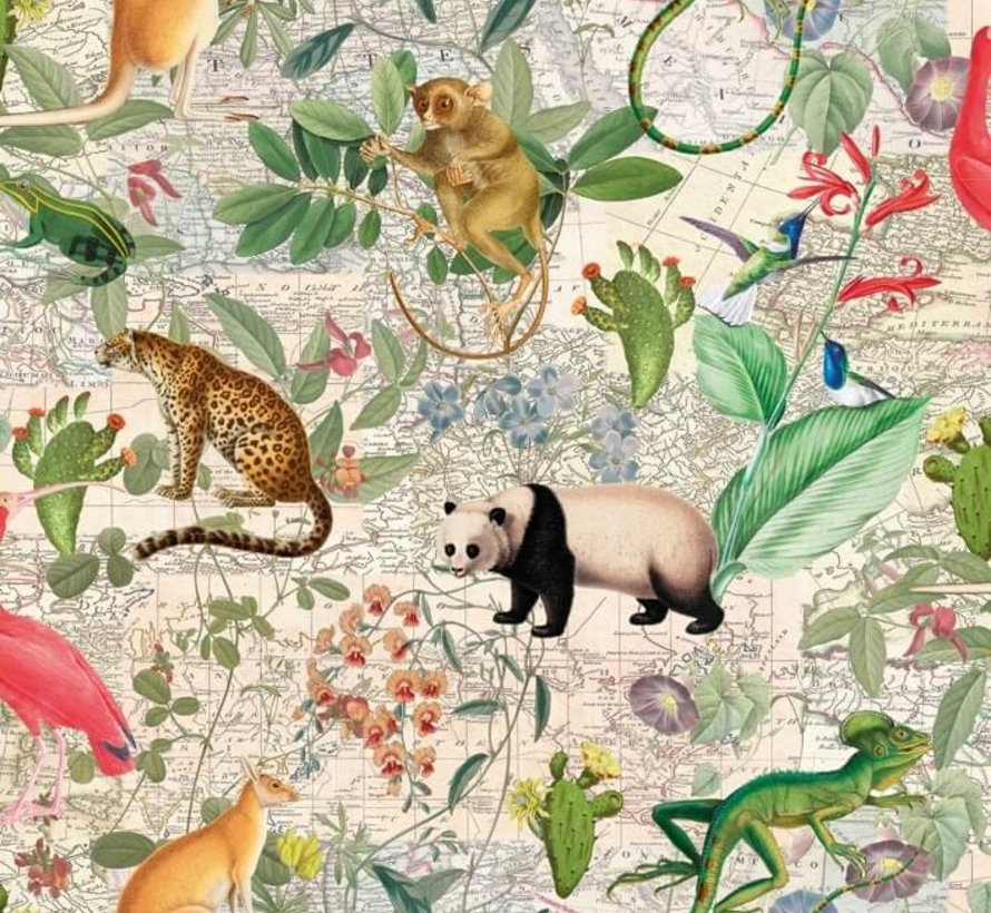 Jungle met dieren - digitale print