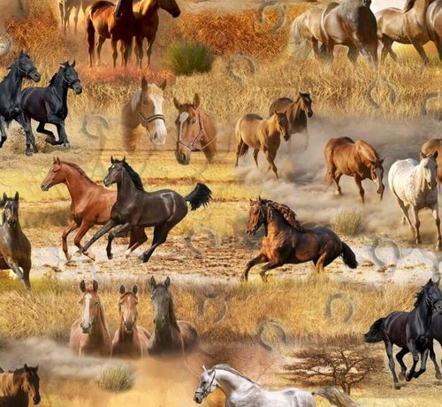 Decostoffen Paarden digitale print stof