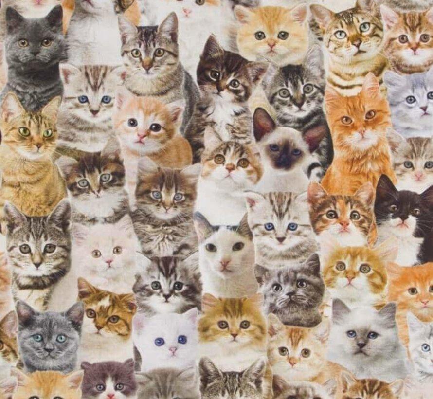 Katten digitale print stof