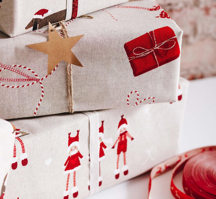Teckels kerst linnenlook stof