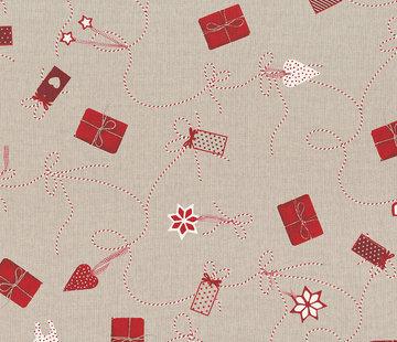 Decostoffen Cadeautjes kerst linnenlook