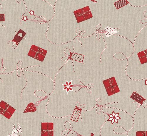 Decostoffen Cadeautjes kerst linnenlook stof