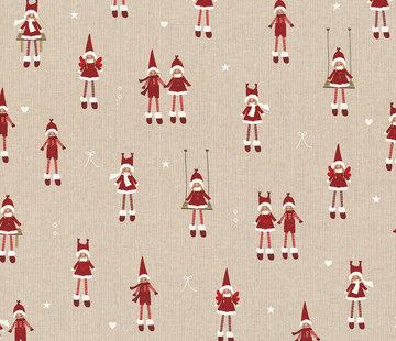 Decostoffen Kerstmannen & vrouwen linnenlook