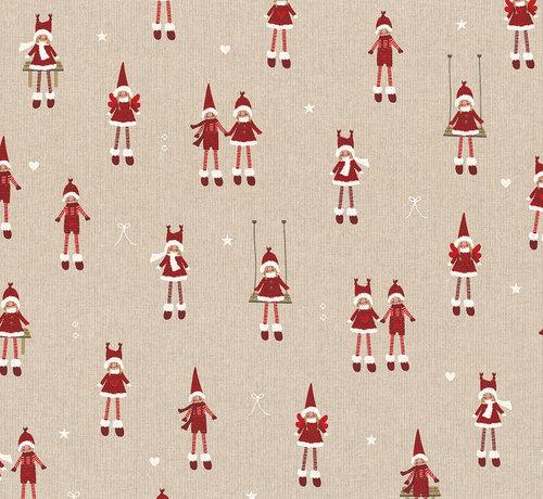 Decostoffen Kerstmannen & vrouwen linnenlook stof
