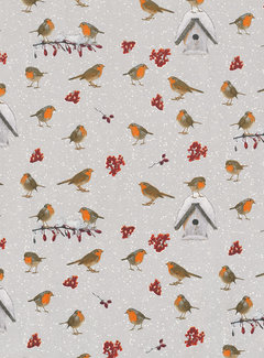 Decostoffen Vogels kerstmis ottoman