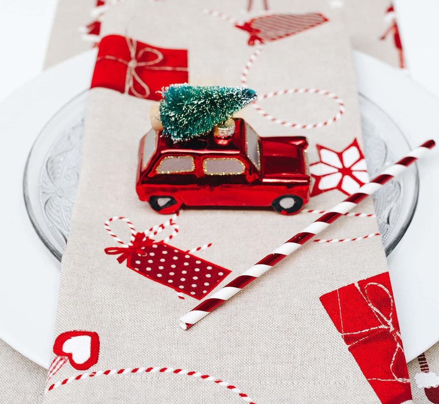 Cadeautjes kerst linnenlook stof