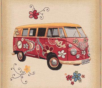 Decostoffen Volkswagen bus hippie kussenpanel