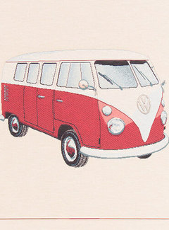 Decostoffen Volkswagen bus rood kussenpanel