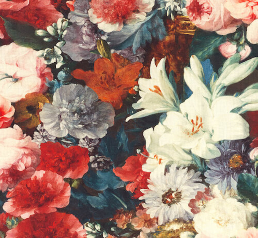 Rode bloemen digitale print stof