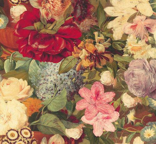 Bloemen golden digitale print stof