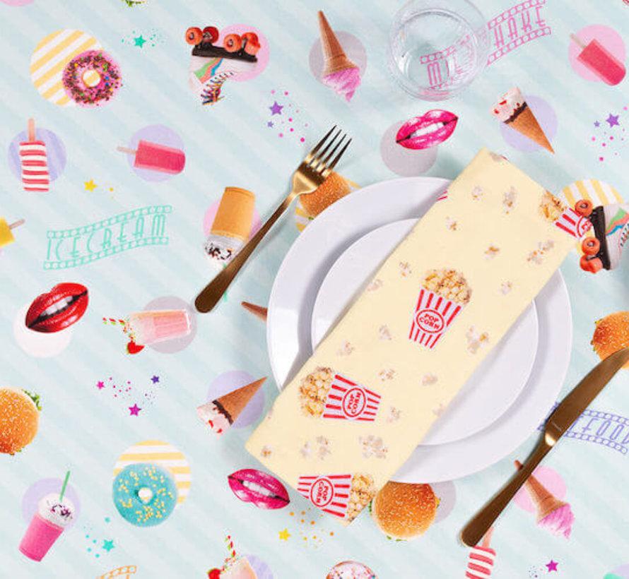 Hamburgers & ijs digitale print stof