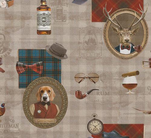 Decostoffen Dandy style met wiskey en rum digitale print stof