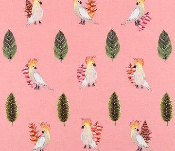 Decostoffen Papegaai roze digitale print