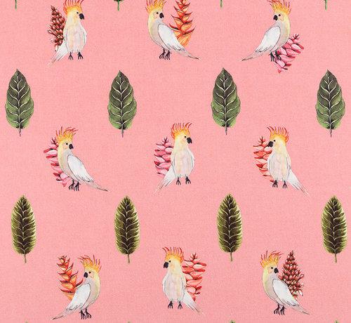 Decostoffen Papegaai roze digitale print stof