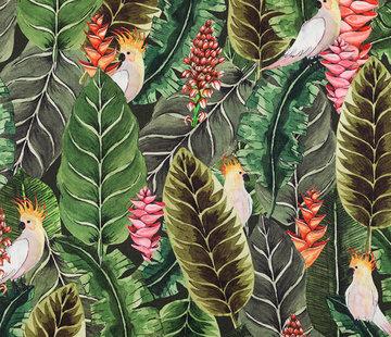 Decostoffen Botanisch papegaai digitale print