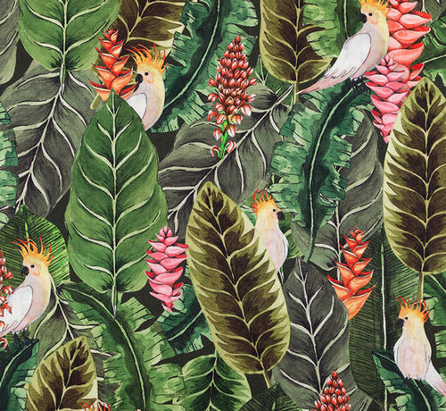 Decostoffen Botanisch papegaai digitale print stof