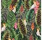 Botanisch papegaai digitale print stof