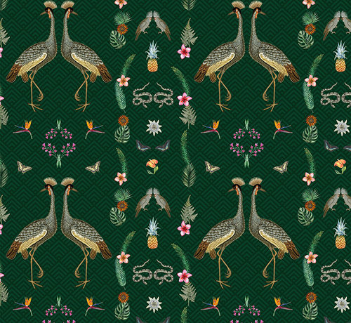 Decostoffen Kraanvogel digitale print stof