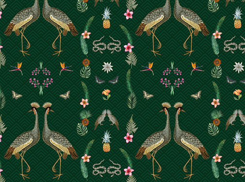 Decostoffen Kraanvogel digitale print