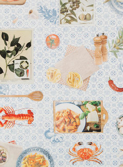 Decostoffen Mediterraans eten digitale print