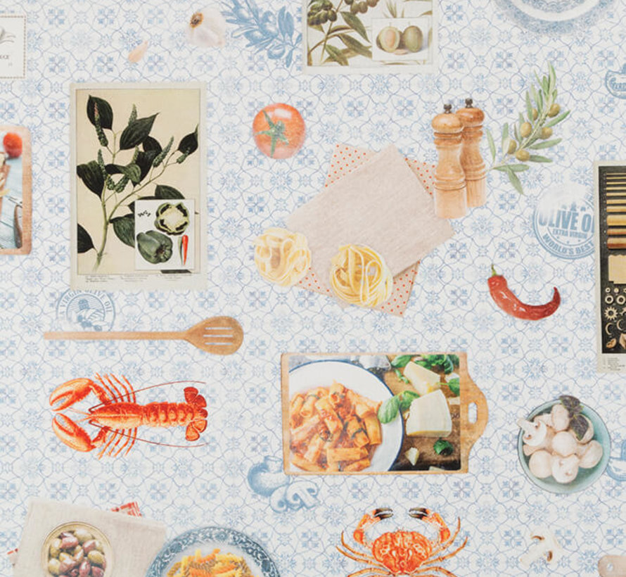 Mediterraans eten digitale print stof