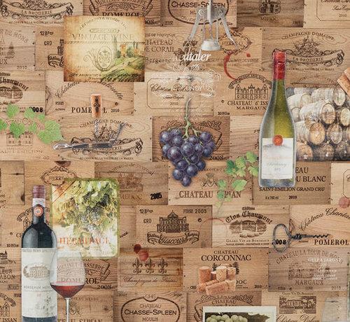 Decostoffen Wijn etiketten digitale print stof