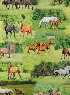 Decostoffen Paarden groen - digitale print