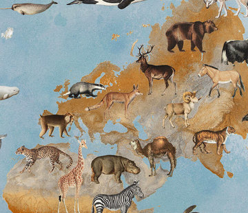 Decostoffen Wereldkaart - digitale print