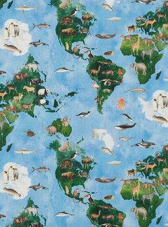 Decostoffen Wereldkaart met dieren - digitale print