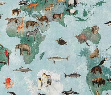 Decostoffen Wereldkaart licht groen - digitale print