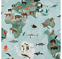 Wereldkaart licht groen - digitale print