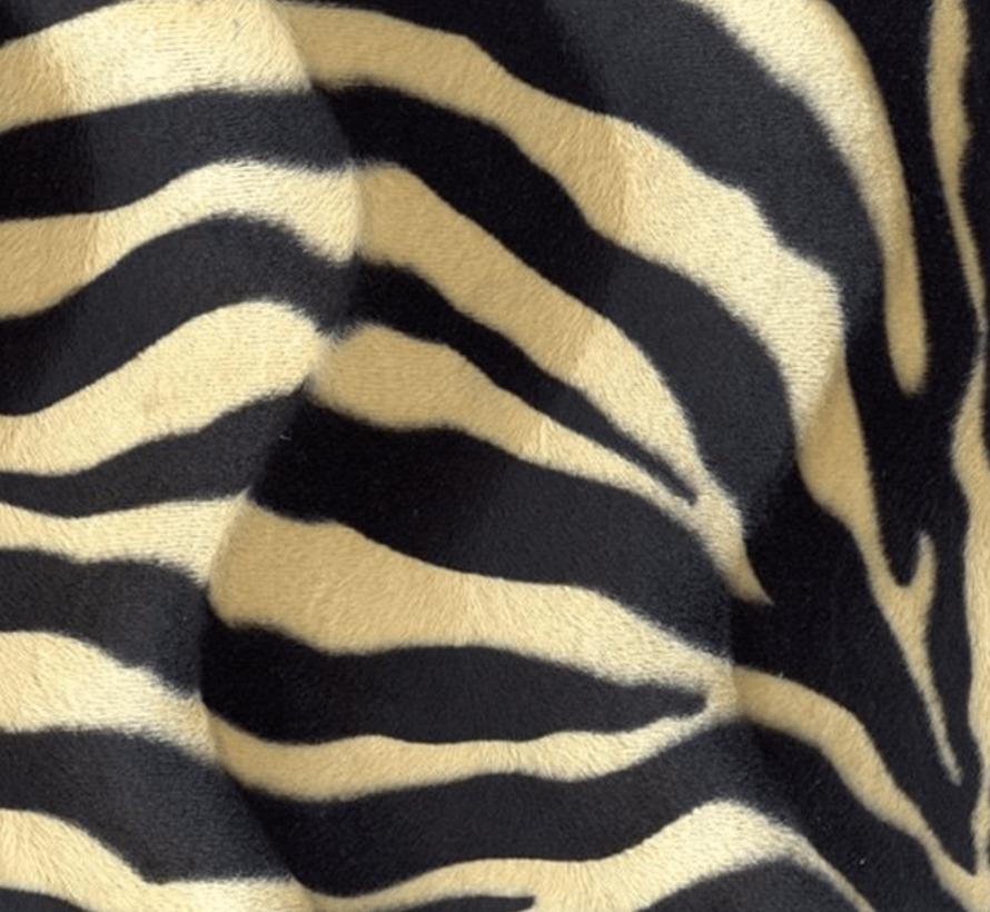 Zebraprint zand velboa stof
