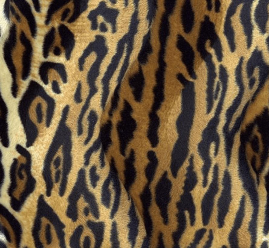 Tijgerprint bruin velboa stof