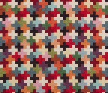 Decostoffen Multicolor kruisjes groot gobelin