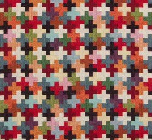 Decostoffen Multicolor kruisjes gobelin meubelstof groot