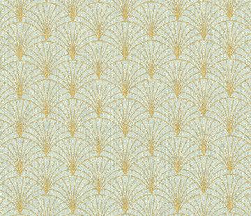 Decostoffen Lurex groen goud linnenlook