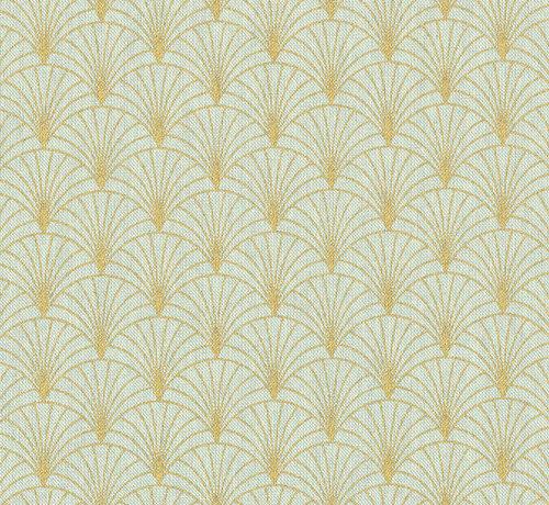 Decostoffen Groene linnenlook stof met gouden lurex draad