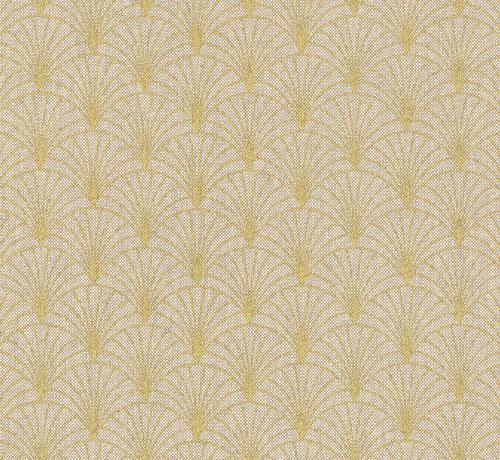 Decostoffen Linnenlook stof met gouden lurex draad