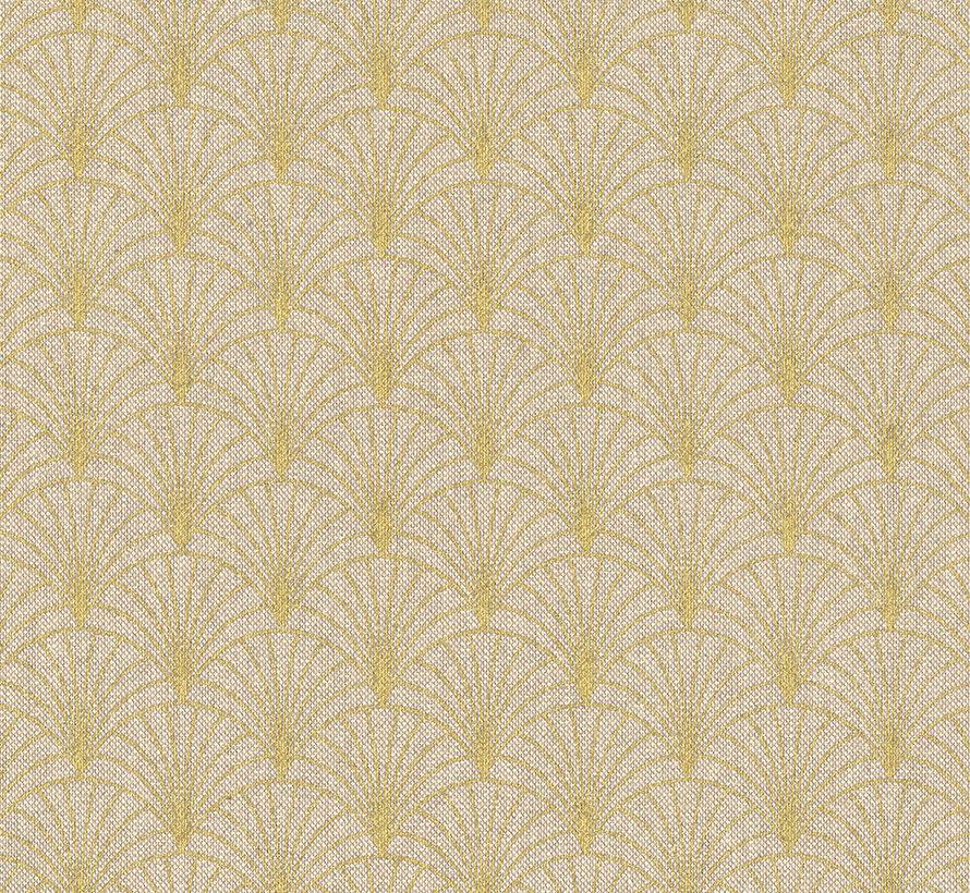 Linnenlook stof met gouden lurex draad