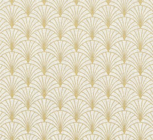 Decostoffen Ecru linnenlook stof met gouden lurex draad