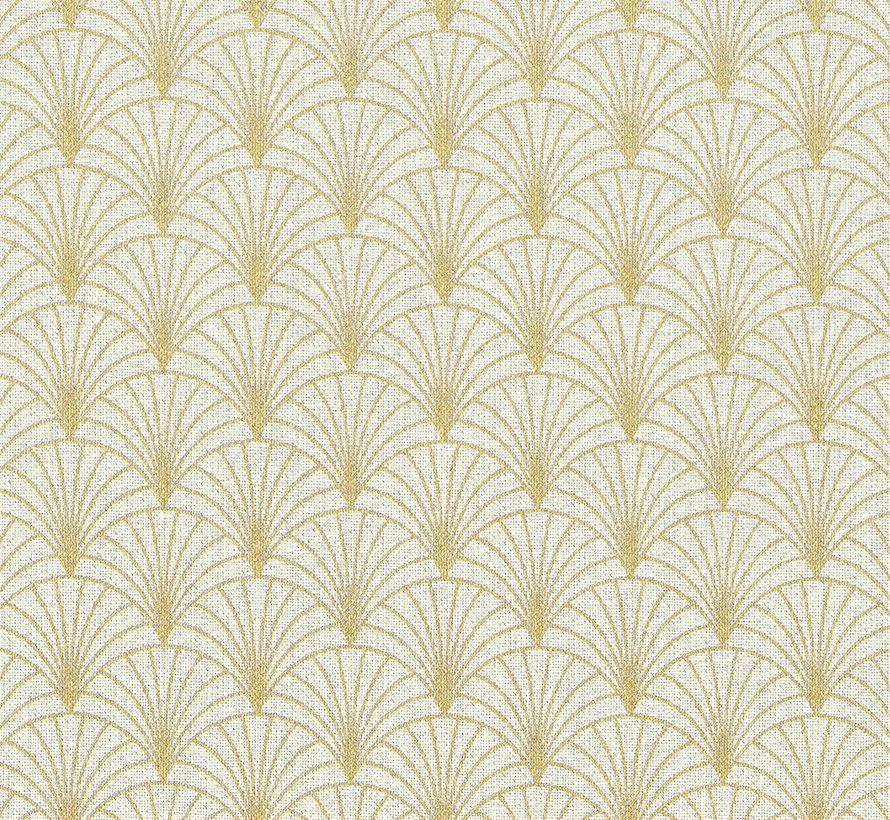 Ecru linnenlook stof met gouden lurex draad