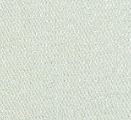 Groene linnenlook stof met gouden lurex draad