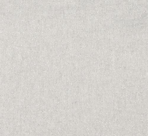Licht grijze linnenlook stof met zilveren lurex draad