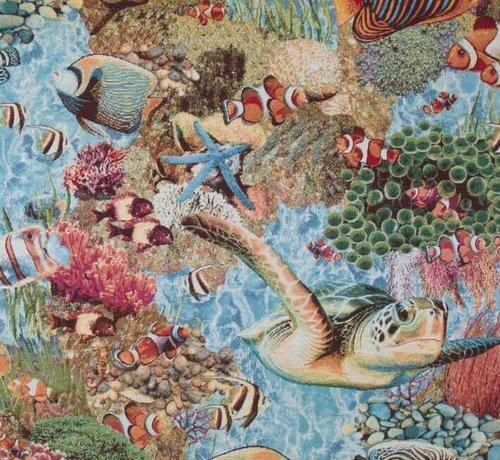 Decostoffen Tropische vissen gobelin meubelstof
