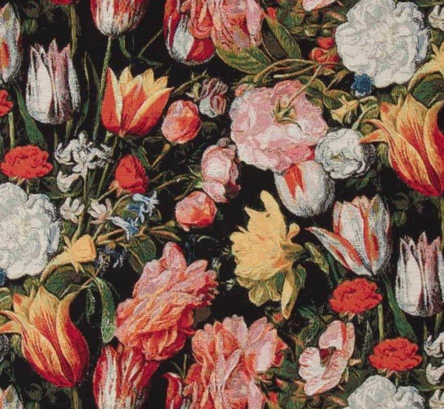Bloemen en tulpen gobelin meubelstof