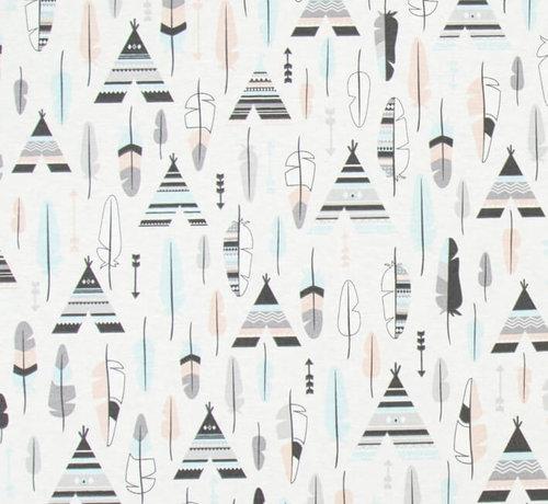 Decostoffen Wigwam pastel ottoman print stof