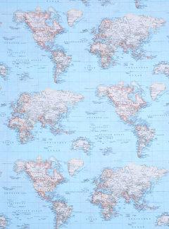 Decostoffen Wereldkaart blauw ottoman