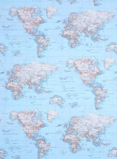 Wereldkaart blauw ottoman