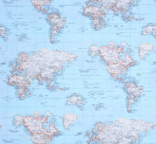 Decostoffen Wereldkaart blauw ottoman print stof