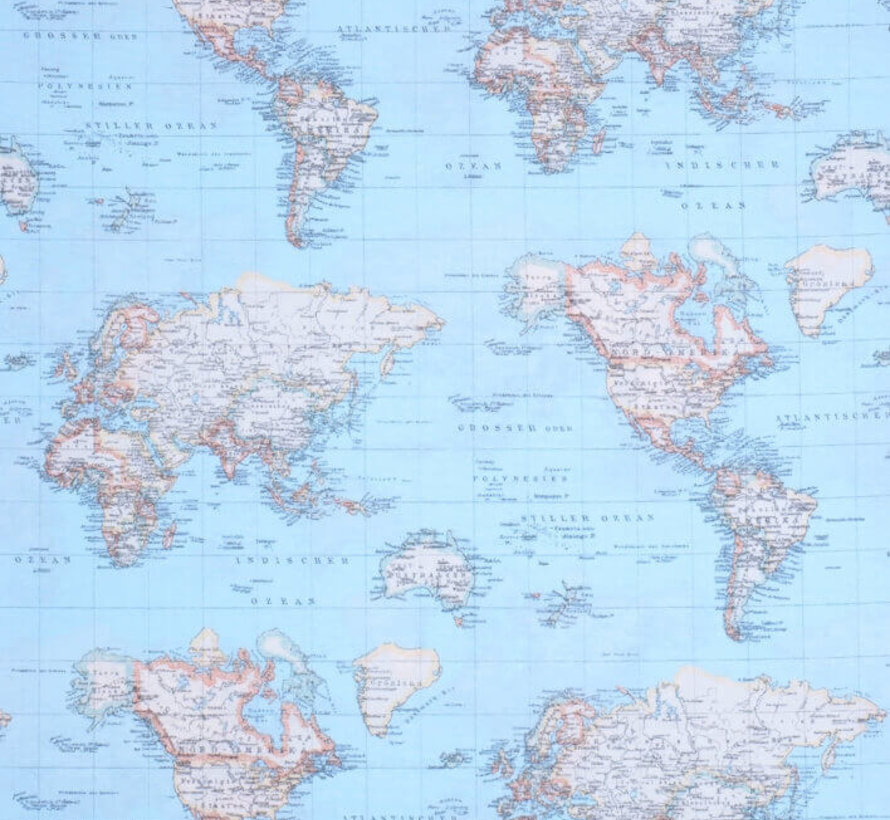 Wereldkaart blauw ottoman print stof